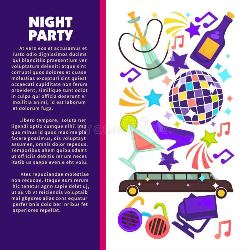 Palla e limousine della discoteca del partito di notte del club di ballo illustrazione di stock