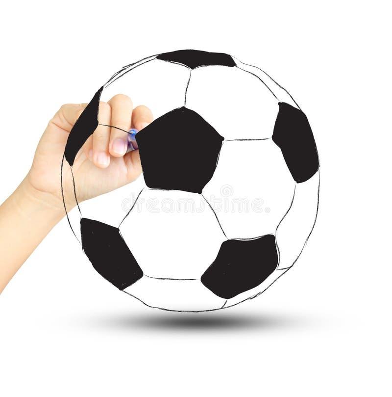 Palla e mano di calcio di calcio con la penna illustrazione di stock