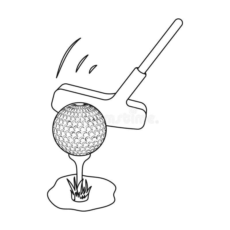Palla e putter per golf Singola icona del club di golf nel web dell'illustrazione delle azione di simbolo di vettore di stile del illustrazione vettoriale