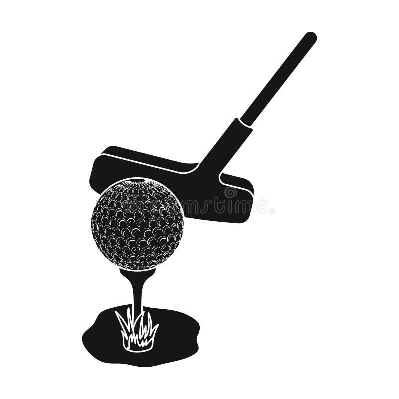 Palla e putter per golf Singola icona del club di golf nel web nero dell'illustrazione delle azione di simbolo di vettore di stil illustrazione vettoriale