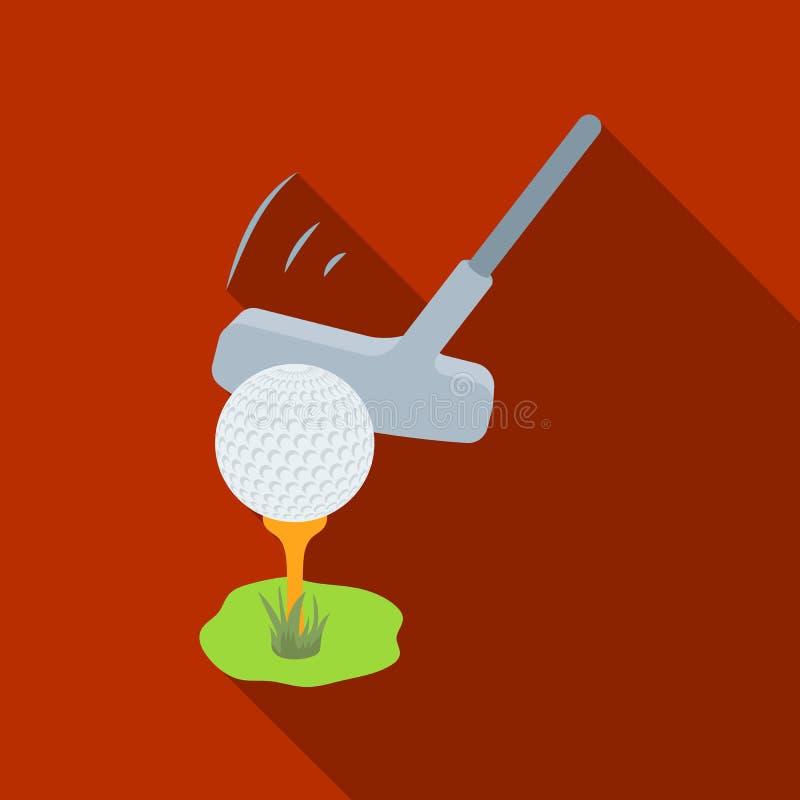 Palla e putter per golf Singola icona del club di golf nel web piano dell'illustrazione delle azione di simbolo di vettore di sti royalty illustrazione gratis
