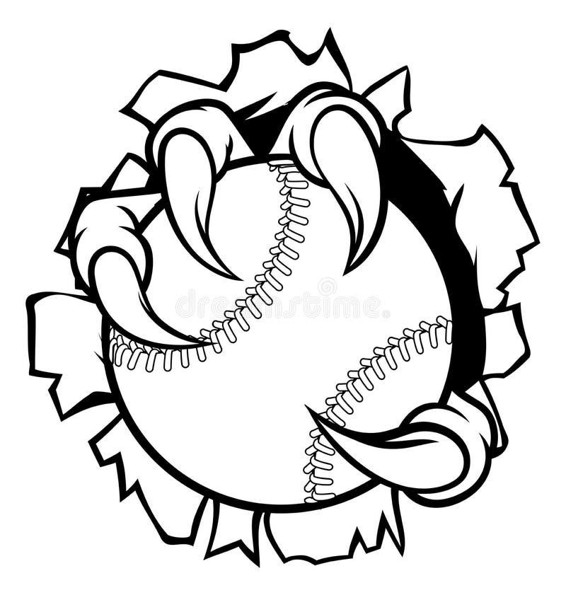 Palla Eagle Claw Talons Tearing Background di baseball illustrazione vettoriale