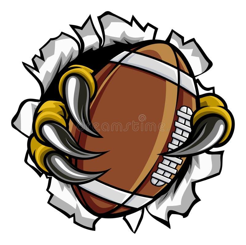 Palla Eagle Claw Talons Tearing Background di calcio royalty illustrazione gratis