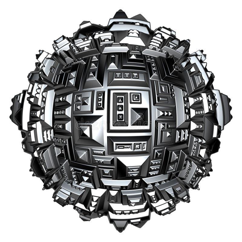 palla futuristica della città 3d in cromo d'argento su bianco royalty illustrazione gratis