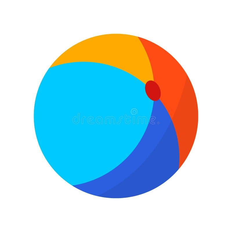 Palla gonfiabile luminosa Icona piana di vacanza estiva di colore su fondo bianco illustrazione di stock