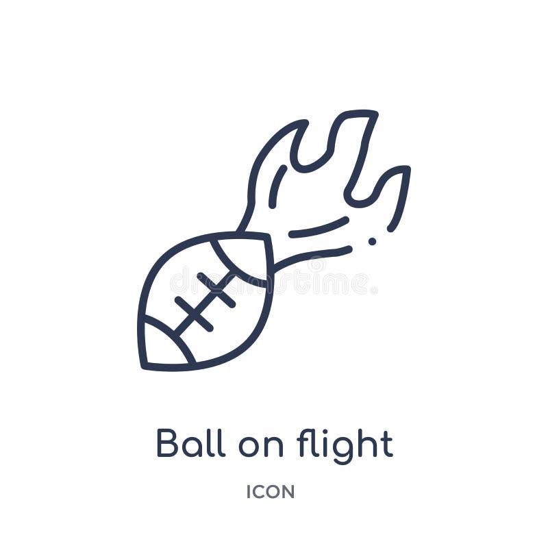 Palla lineare sull'icona di volo dalla raccolta del profilo di football americano Linea palla sottile sul vettore di volo isolata illustrazione vettoriale
