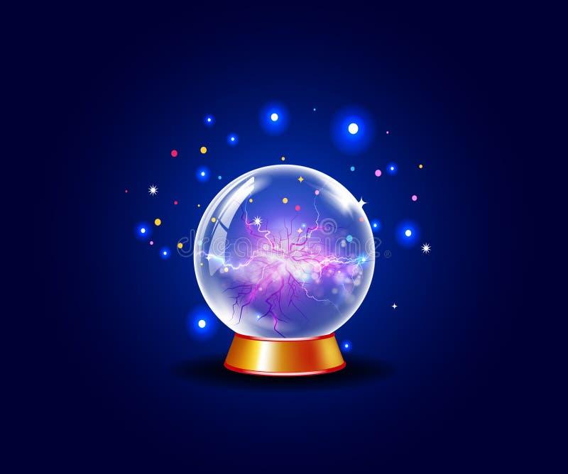 Palla magica di energia con le vene di energia dal centro all'esterno illustrazione vettoriale