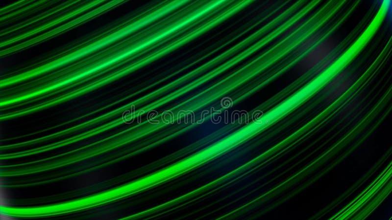 Palla nelle linee al neon Animazione astratta della sfera nera tridimensionale che fila con le linee e l'abbagliamento al neon Be royalty illustrazione gratis