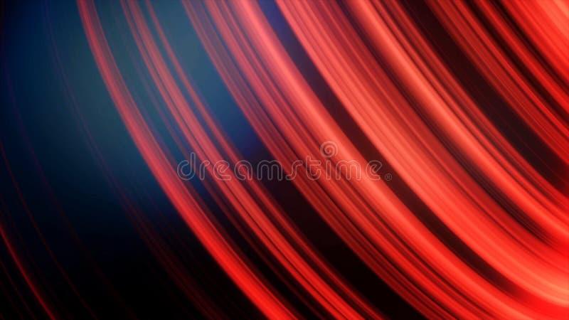 Palla nelle linee al neon Animazione astratta della sfera nera tridimensionale che fila con le linee e l'abbagliamento al neon Be illustrazione di stock