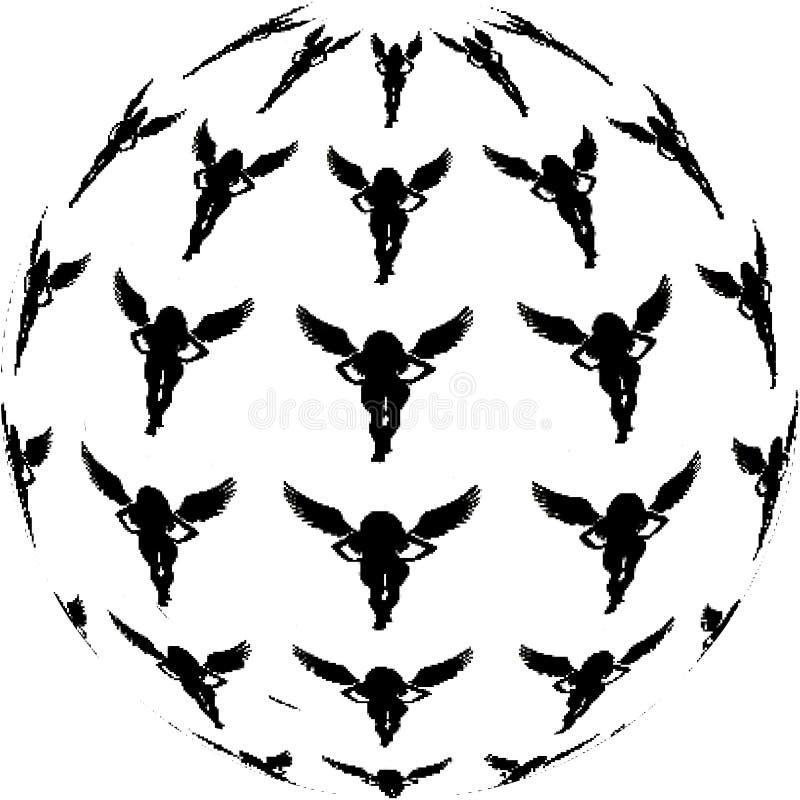 Palla nera astratta del vettore di angeli royalty illustrazione gratis