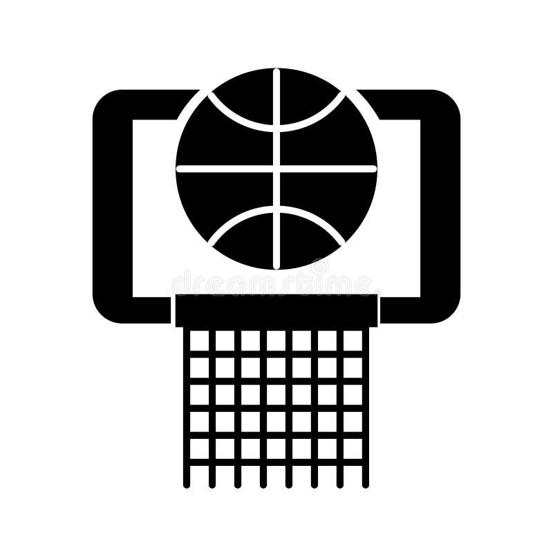 Palla nera del canestro dell'icona nella progettazione grafica di vettore del fumetto del cerchio royalty illustrazione gratis