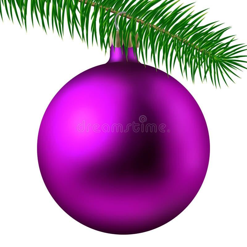 Palla o bagattella opaca rosa realistica di Natale con il ramo dell'abete isolato su fondo bianco Illustrazione di vettore illustrazione di stock