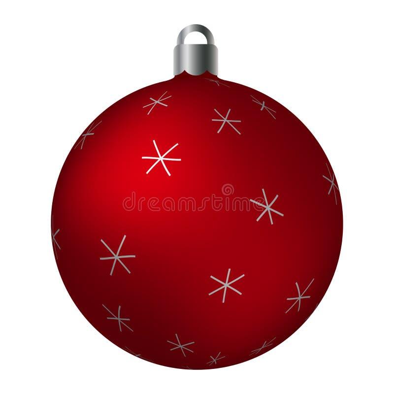 Palla ornated rossa di Natale con i motivi a stelle metallici d'argento isolati su fondo bianco Ornamenti astratti semplici royalty illustrazione gratis