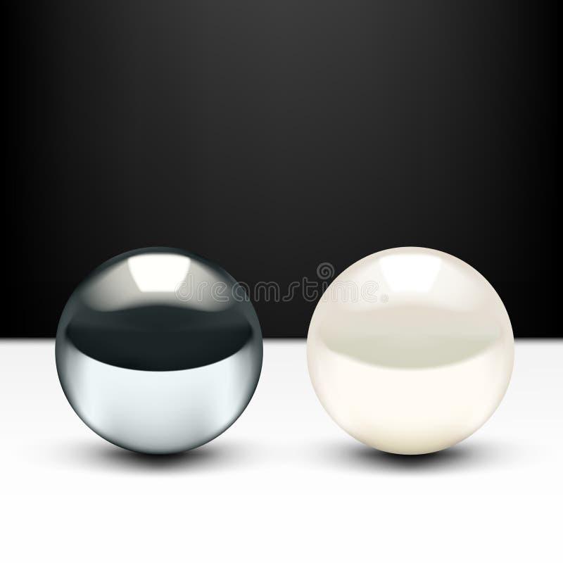 Palla realistica di 3D Chrome e perla brillante isolate su fondo bianco illustrazione vettoriale