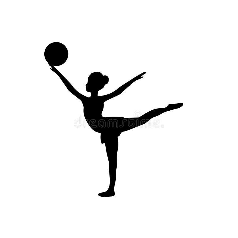 Palla relativa alla ginnastica della sportiva della siluetta di sport della ragazza royalty illustrazione gratis