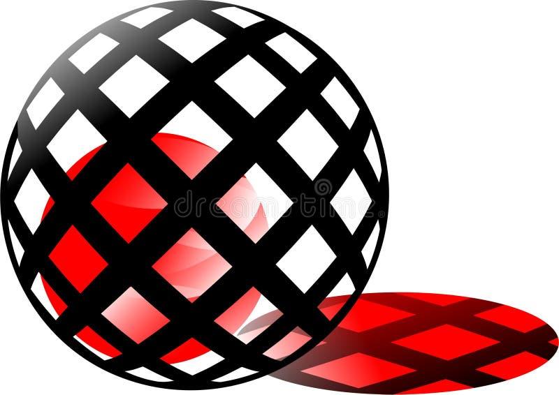Palla rossa di camminata, sole rosso in gabbia, come fuoco rosso, progettazione del giro delle scatole nere effetto impressionant illustrazione vettoriale