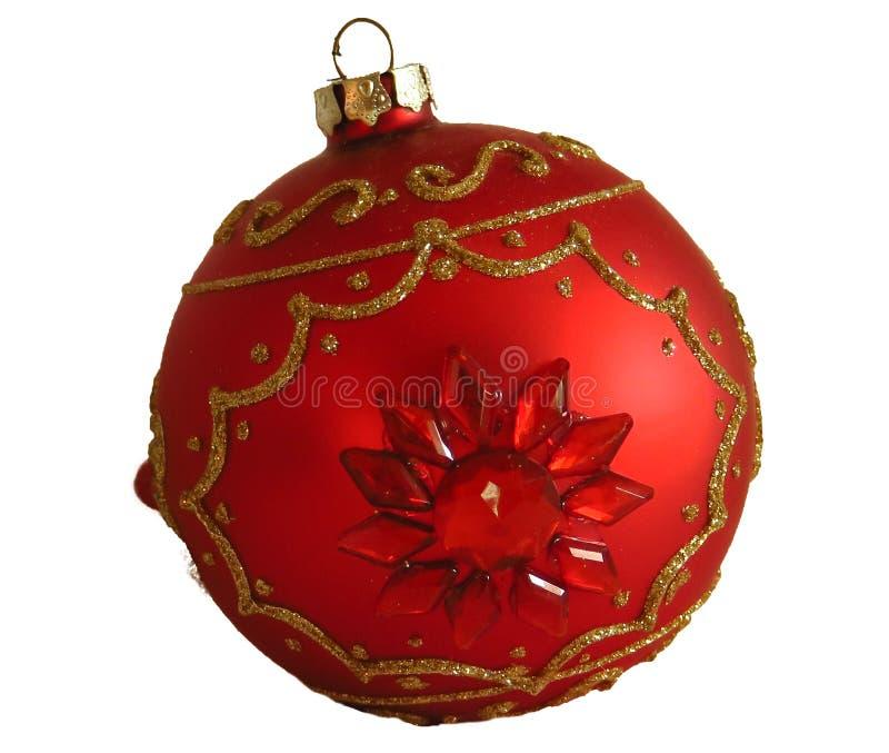 Palla rossa di natale isolata su fondo bianco, giocattoli fotografia stock