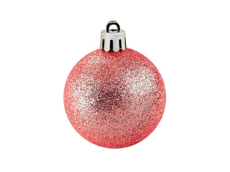 Palla rossa di natale di singolo scintillio isolata su fondo bianco, bagattella per la decorazione della festa di Natale immagine stock