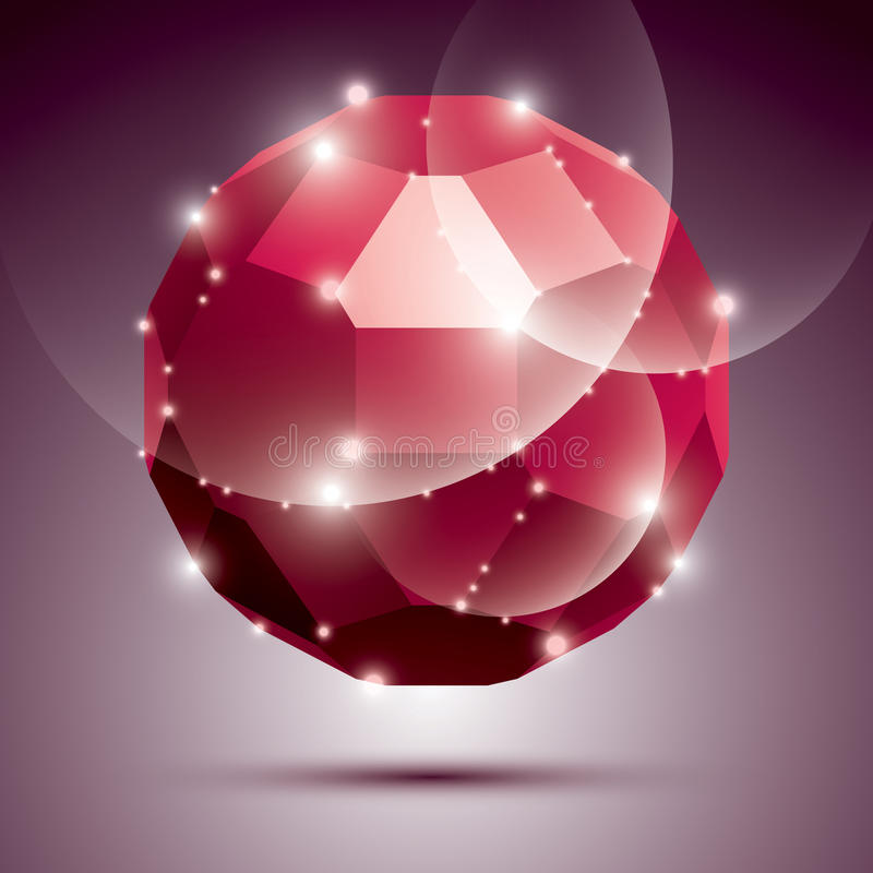 Palla scintillante rossa dimensionale della discoteca del partito Galà astratto di vettore illustrazione vettoriale