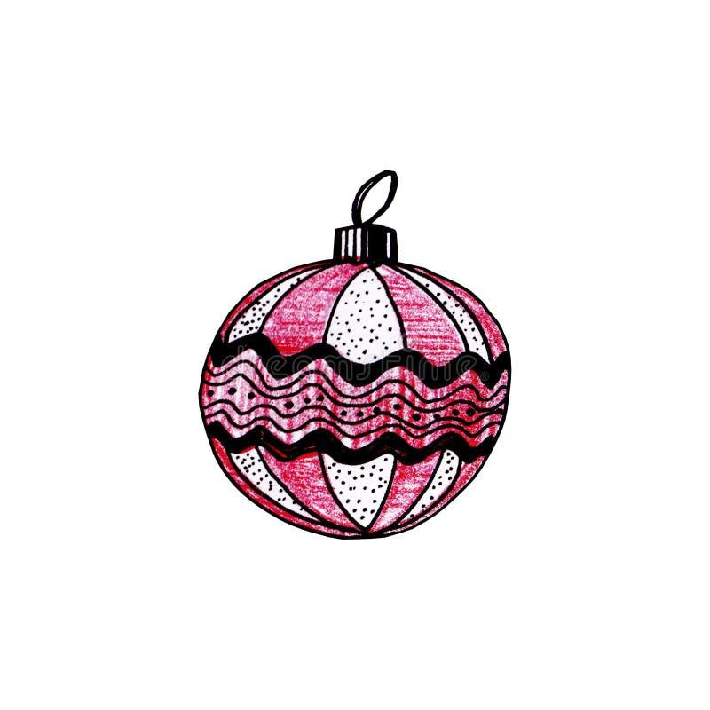 Palla a strisce rossa con decorato isolata su fondo bianco Il Natale gioca per l'albero di abete illustrazione di stock