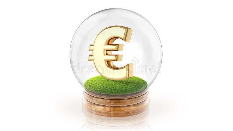 Palla trasparente della sfera con l'euro segno dentro rappresentazione 3d fotografia stock