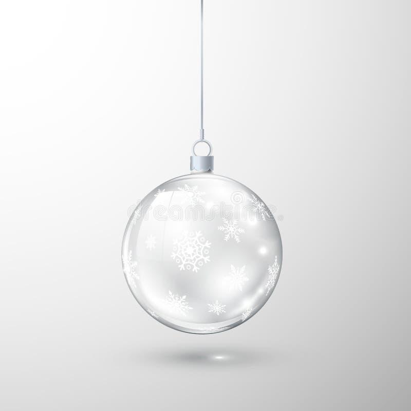 Palla trasparente di vetro di Natale decorata dal fiocco di neve Elemento della decorazione di festa Illustrazione di vettore royalty illustrazione gratis