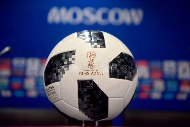 Palla ufficiale della partita della coppa del Mondo 2018 immagini stock libere da diritti