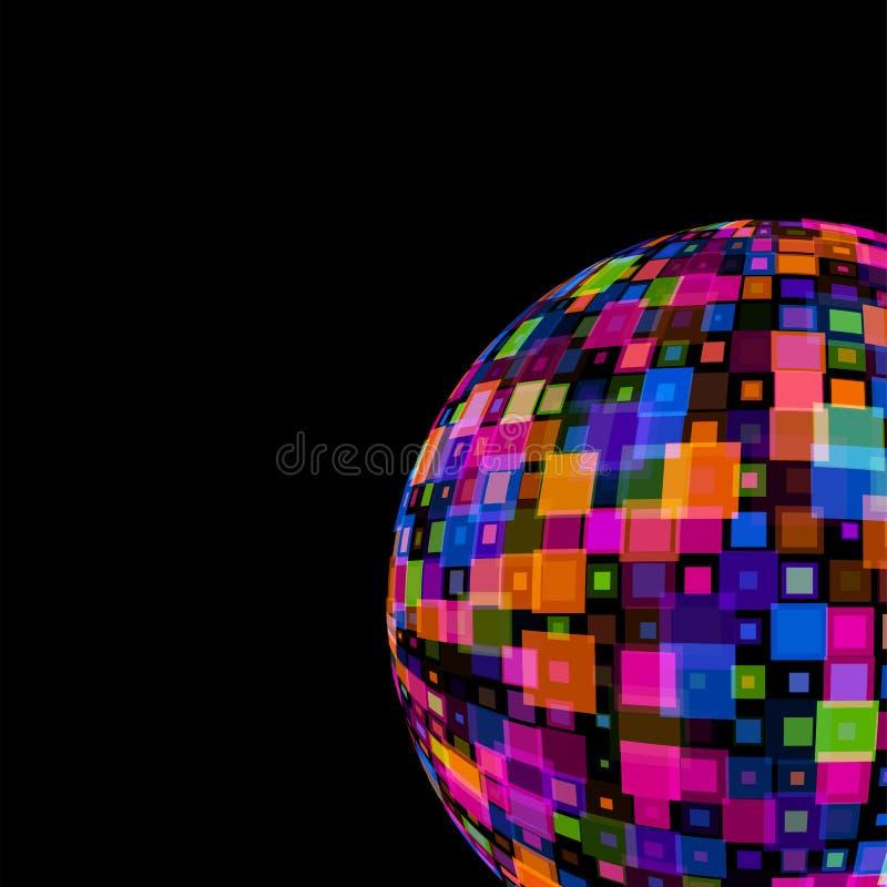 Palla variopinta della discoteca dello specchio sul modello nero per il club del partito, eventi, celebrazioni, vettore del fondo royalty illustrazione gratis