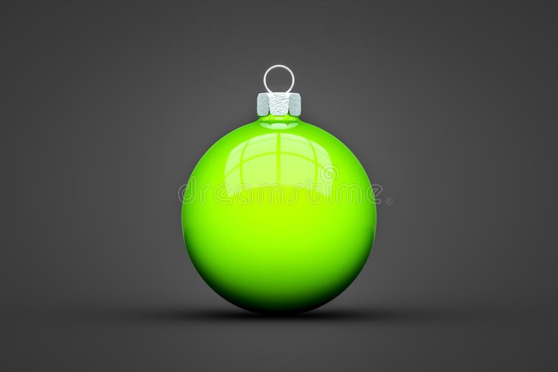 palla verde di Natale isolata con lo spazio del testo illustrazione di stock