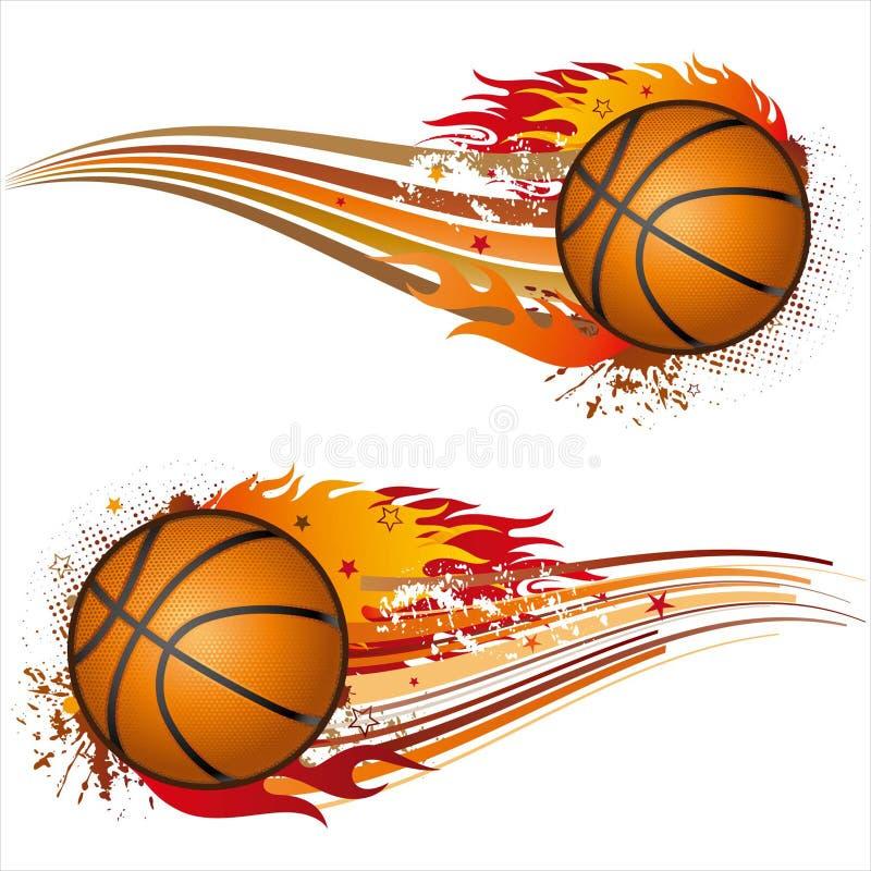 pallacanestro con le fiamme illustrazione vettoriale