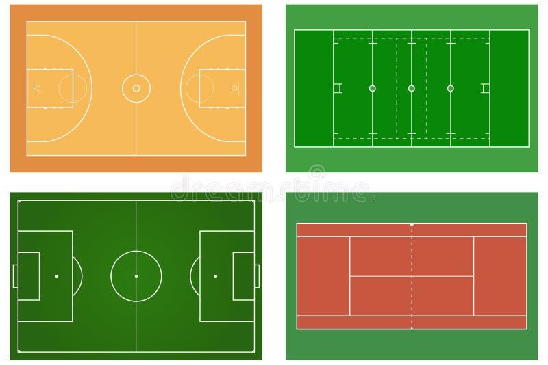 Pallacanestro court Campo da tennis Campo di football americano Sport s illustrazione di stock