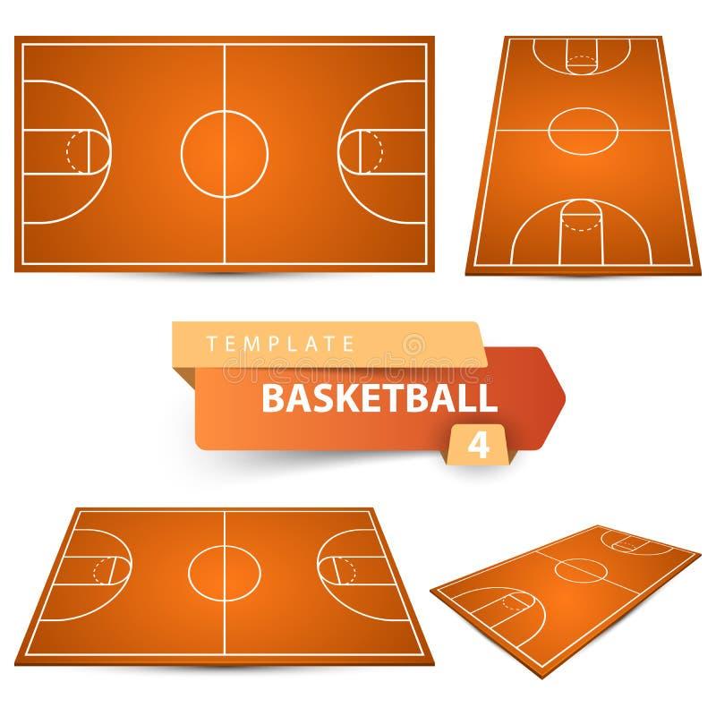 Pallacanestro court Modello di sport di quattro oggetti royalty illustrazione gratis