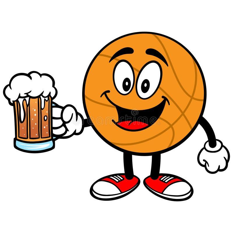 Pallacanestro del fumetto con birra illustrazione vettoriale