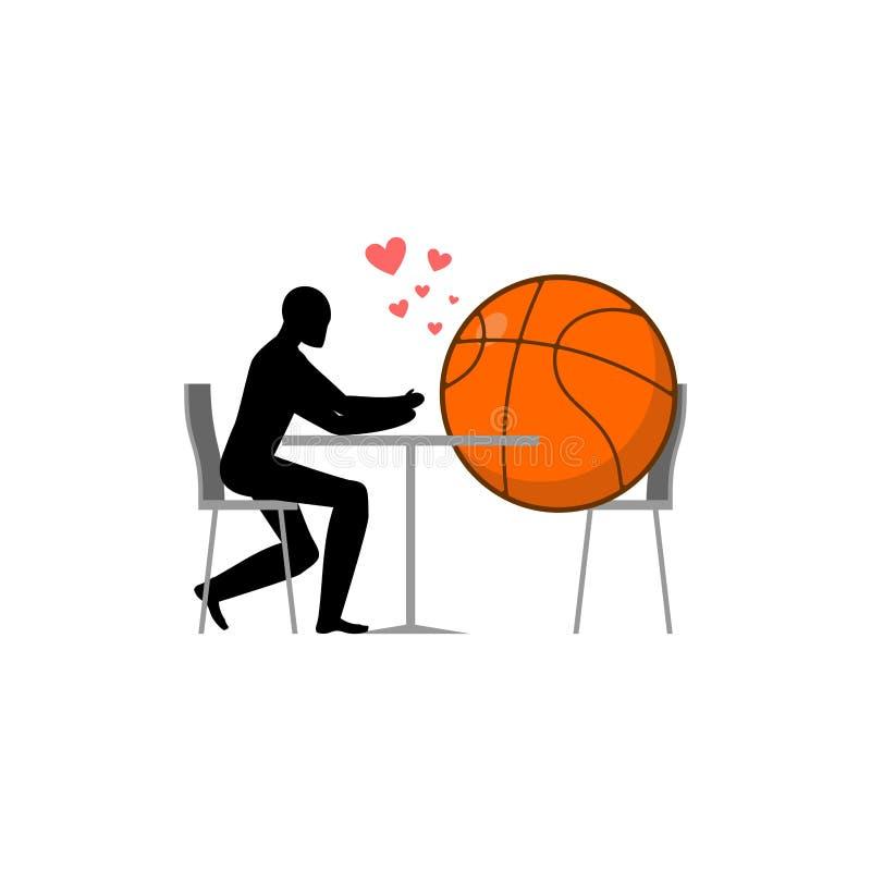 Pallacanestro dell'amante palla e tipo in caffè Amanti in ristorante ro royalty illustrazione gratis