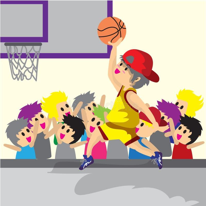 Pallacanestro di arte del fumetto di progettazione di carattere di pallacanestro del gioco del ragazzo illustrazione di stock
