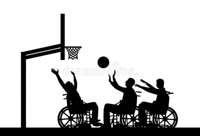 Pallacanestro di sedia a rotelle del gioco dei disabili della siluetta tre di vettore illustrazione di stock