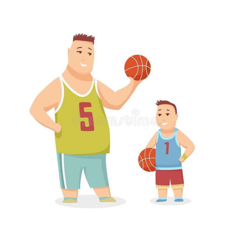 Pallacanestro di And Son Playing del padre, famiglia felice che ha buona illustrazione di tempo insieme illustrazione vettoriale