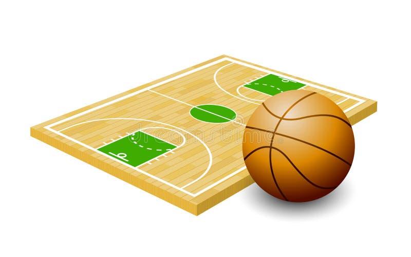 Pallacanestro isometrica, campo da pallacanestro, bordo del gioco, sport illustrazione vettoriale