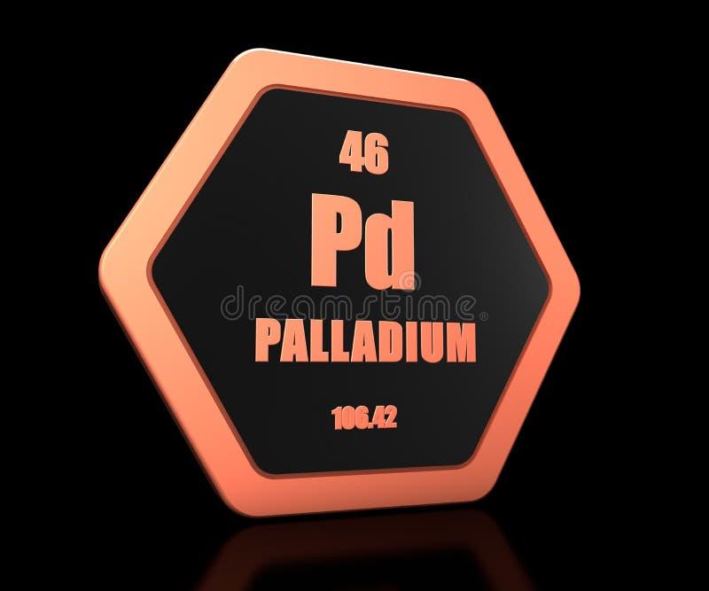 Palladium chemical element periodic table symbol 3d render royalty free illustration