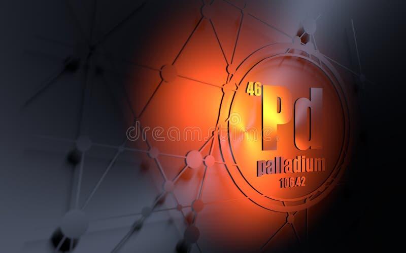 Palladium chemisch element royalty-vrije illustratie