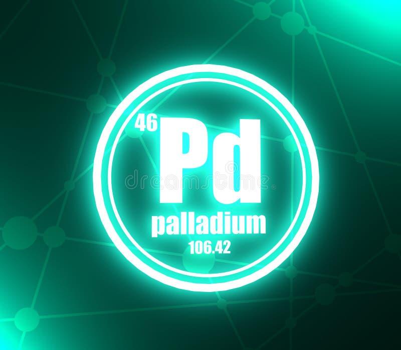 Palladium chemisch element vector illustratie