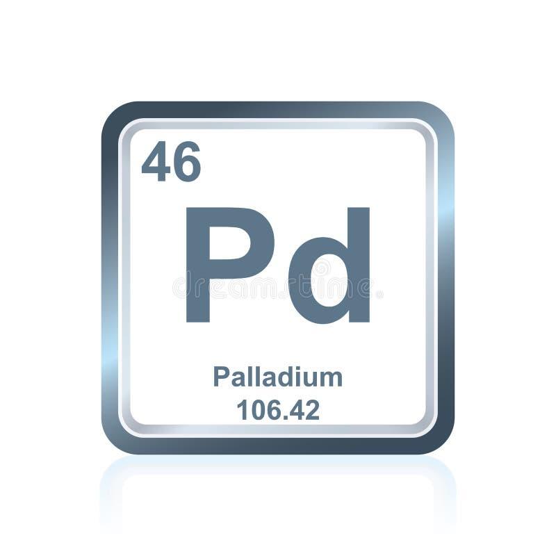 Palladium des chemischen Elements vom Periodensystem stock abbildung