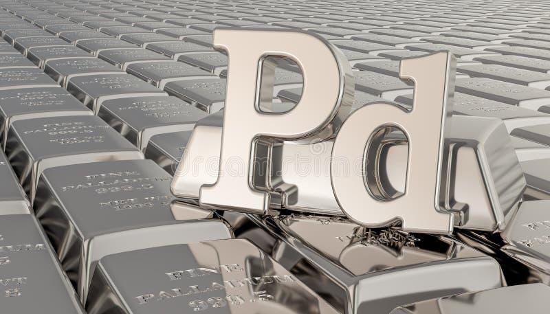 Palladium ingots background with Pd symbol. 3D rendering stock illustration