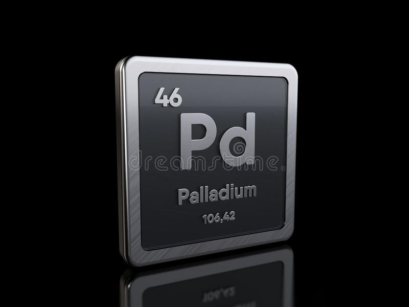 Palladium Pd, element symbol from periodic table series stock illustration