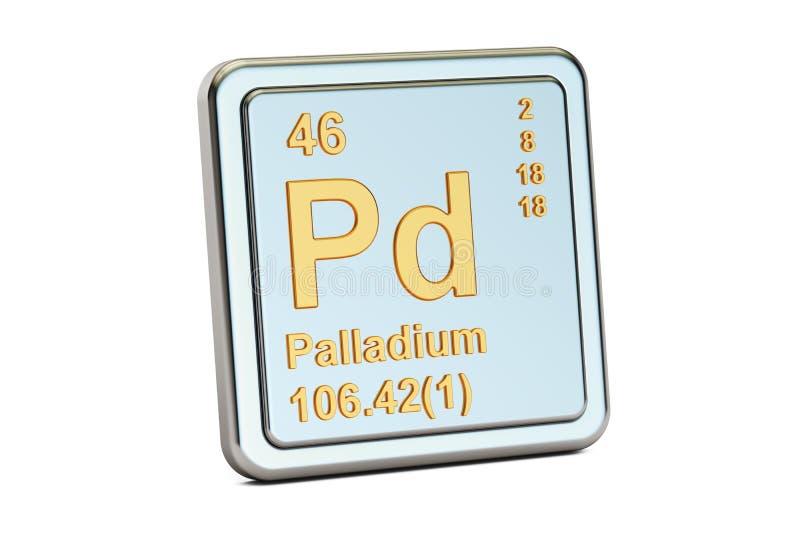 Palladium-PD, Zeichen des chemischen Elements Wiedergabe 3d stock abbildung
