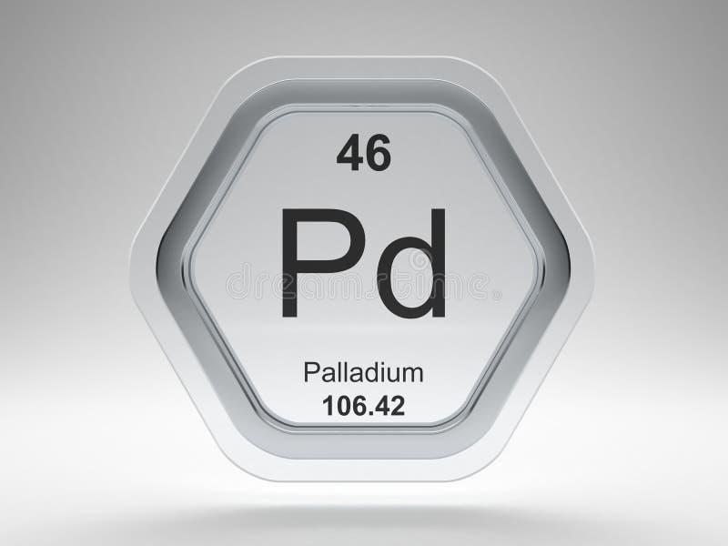 Palladium symbol hexagon frame vector illustration