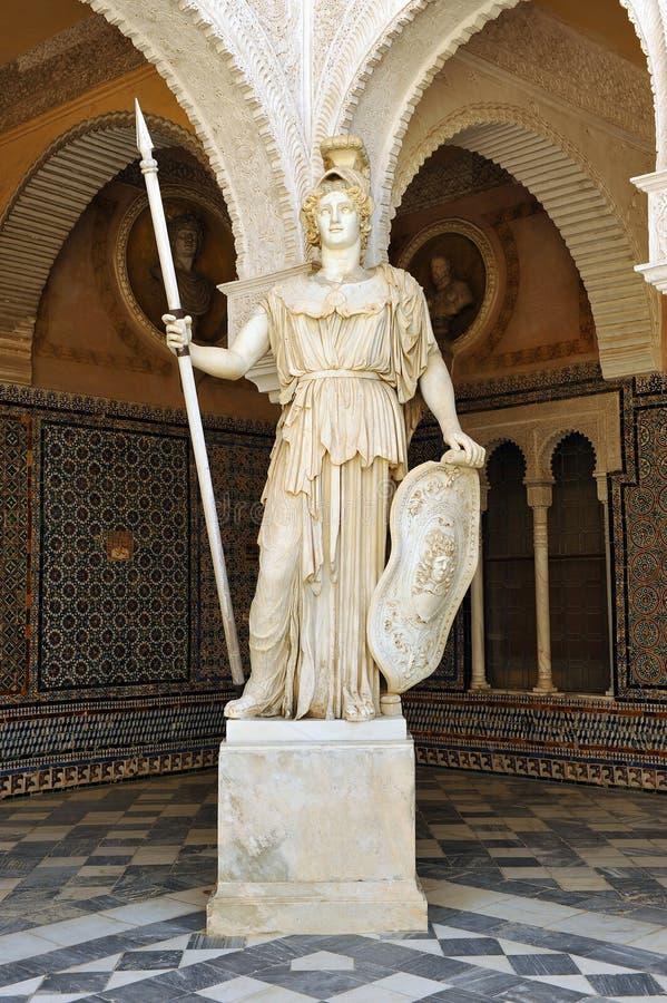 Pallas Athena, sculpture de marbre, Chambre de palais de Pilate, Séville, Espagne photos stock