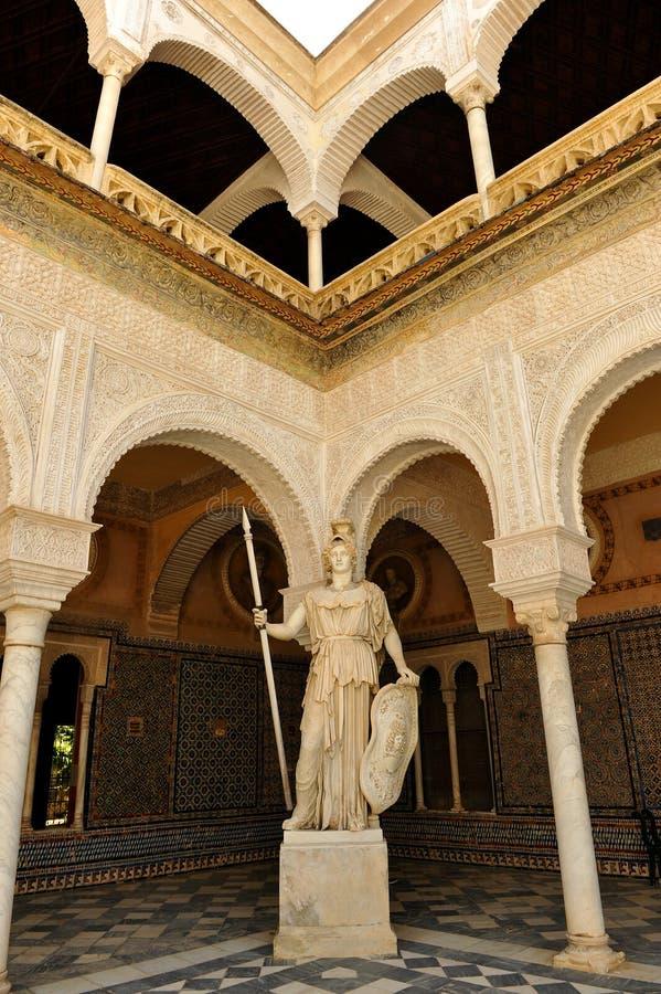 Pallas Athena, sculpture de marbre, Chambre de palais de Pilate, Séville, Espagne images libres de droits