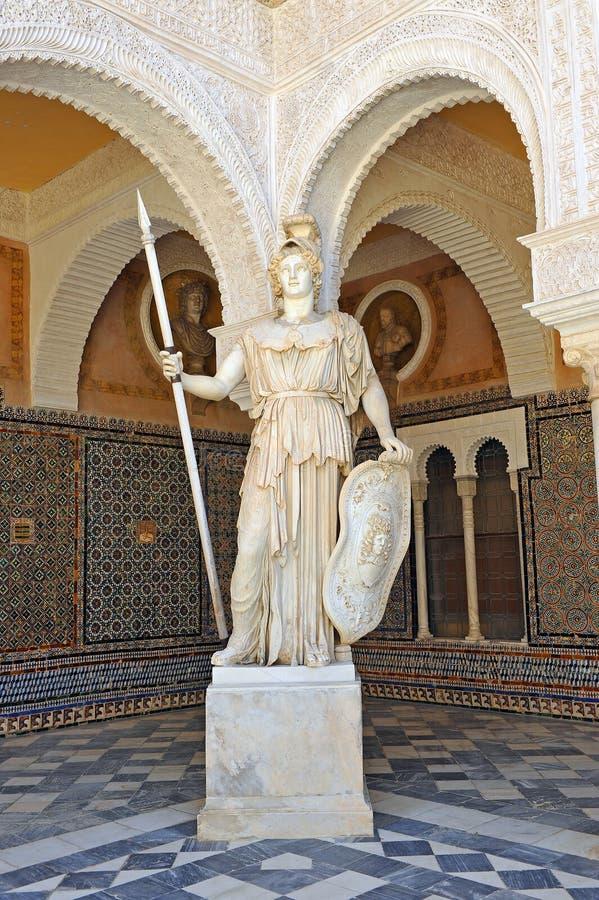 Pallas Athena, sculpture de marbre, Chambre de palais de Pilate, Séville, Espagne photo stock