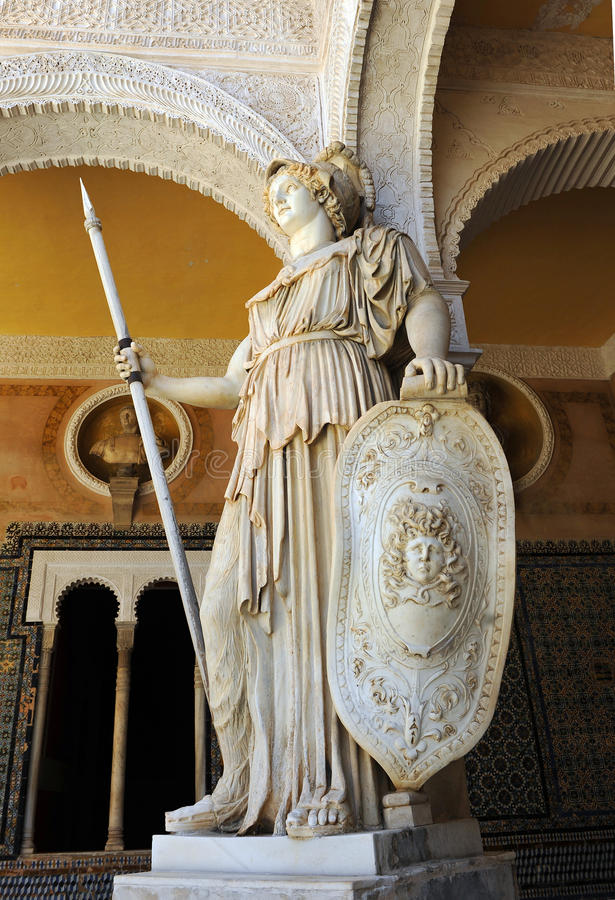 Pallas Athena, sculpture de marbre, Chambre de palais de Pilate, Séville, Espagne photos libres de droits